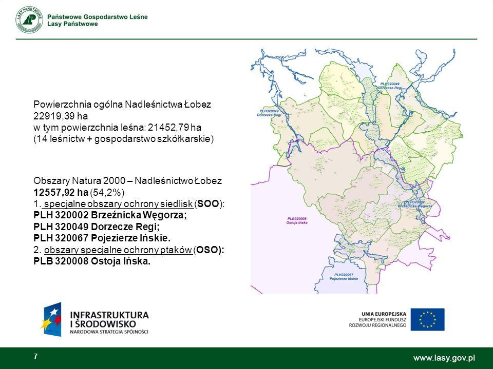 7 Obszary Natura 2000 – Nadleśnictwo Łobez 12557,92 ha (54,2%) 1.