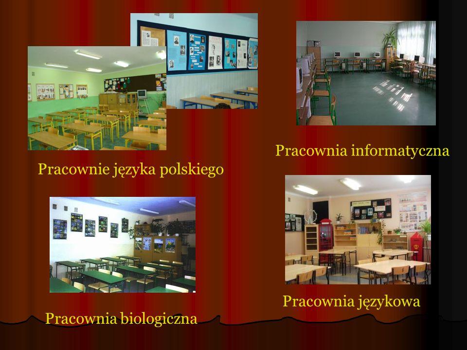 Pracownie języka polskiego Pracownia informatyczna Pracownia biologiczna Pracownia językowa