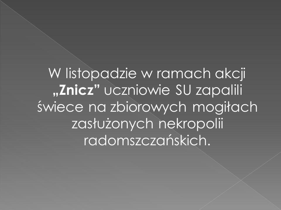 """W listopadzie w ramach akcji """"Znicz uczniowie SU zapalili świece na zbiorowych mogiłach zasłużonych nekropolii radomszczańskich."""