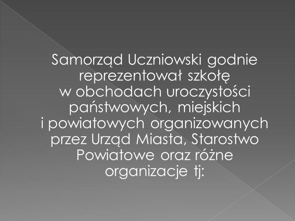 Samorząd Uczniowski godnie reprezentował szkołę w obchodach uroczystości państwowych, miejskich i powiatowych organizowanych przez Urząd Miasta, Starostwo Powiatowe oraz różne organizacje tj: