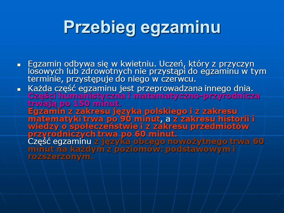 http://www.cke.edu.pl/images/_KOMUNIKATY/20150820_Harmonogram_egzaminow_w_ 2016_r.pdf Na egzamin uczeń przynosi ze sobą wyłącznie przybory do pisania: pióro lub długopis  z czarnym tuszem/atramentem, a w przypadku części drugiej z zakresu matematyki również linijkę.