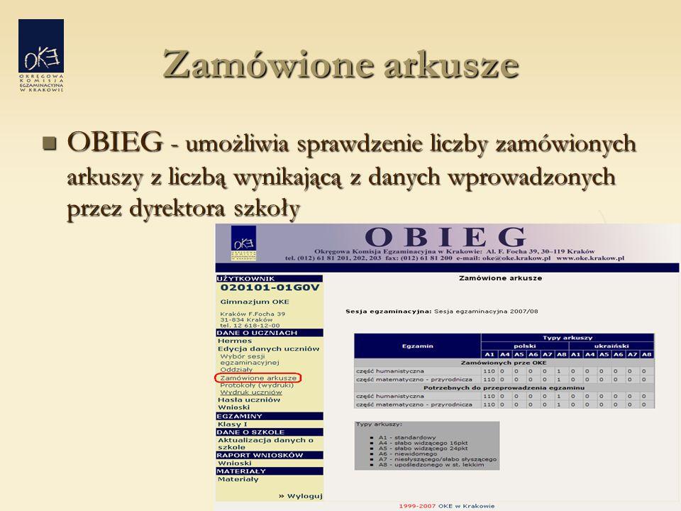 Zamówione arkusze OBIEG - umożliwia sprawdzenie liczby zamówionych arkuszy z liczbą wynikającą z danych wprowadzonych przez dyrektora szkoły OBIEG - umożliwia sprawdzenie liczby zamówionych arkuszy z liczbą wynikającą z danych wprowadzonych przez dyrektora szkoły