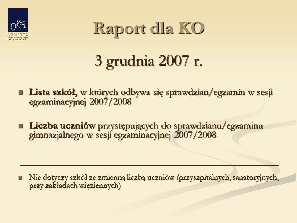 Raport dla KO 3 grudnia 2007 r.
