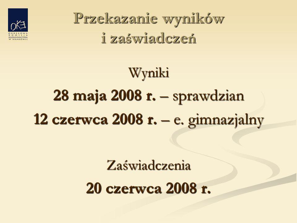 Przekazanie wyników i za ś wiadcze ń Wyniki 28 maja 2008 r.