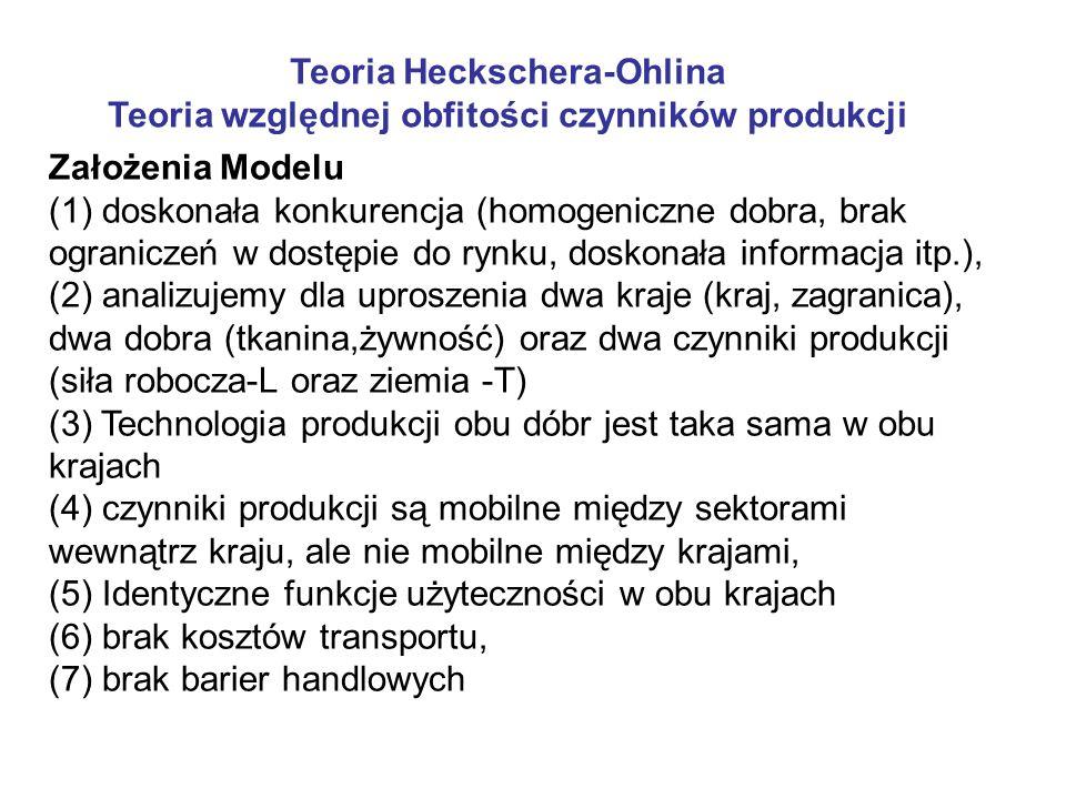 Teoria Heckschera-Ohlina Teoria względnej obfitości czynników produkcji Założenia Modelu (1) doskonała konkurencja (homogeniczne dobra, brak ograniczeń w dostępie do rynku, doskonała informacja itp.), (2) analizujemy dla uproszenia dwa kraje (kraj, zagranica), dwa dobra (tkanina,żywność) oraz dwa czynniki produkcji (siła robocza-L oraz ziemia -T) (3) Technologia produkcji obu dóbr jest taka sama w obu krajach (4) czynniki produkcji są mobilne między sektorami wewnątrz kraju, ale nie mobilne między krajami, (5) Identyczne funkcje użyteczności w obu krajach (6) brak kosztów transportu, (7) brak barier handlowych