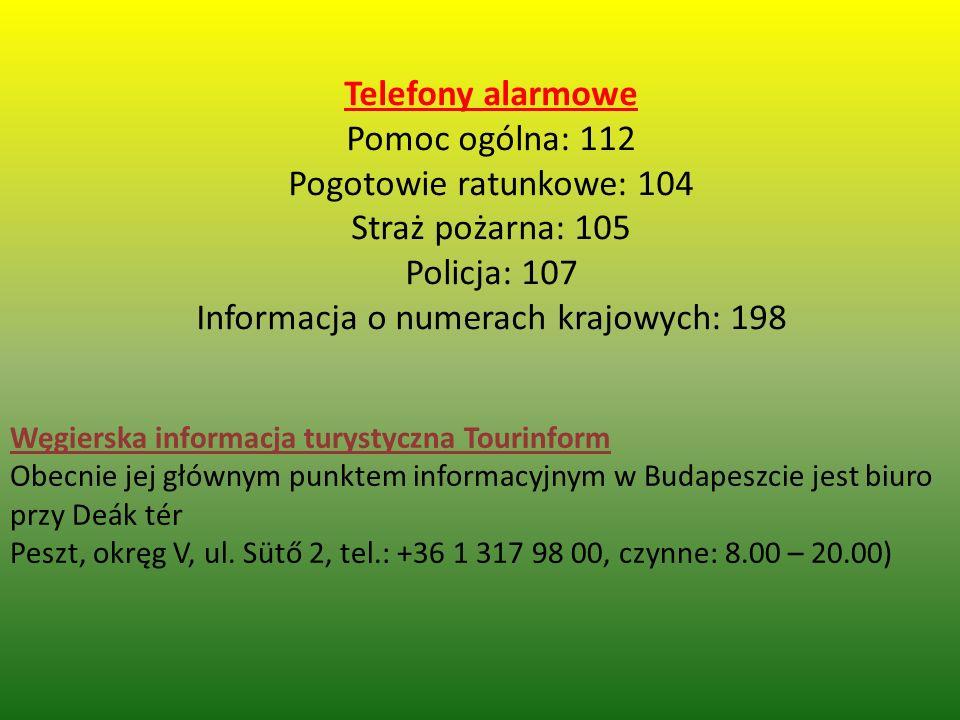 Telefony alarmowe Pomoc ogólna: 112 Pogotowie ratunkowe: 104 Straż pożarna: 105 Policja: 107 Informacja o numerach krajowych: 198 Węgierska informacja