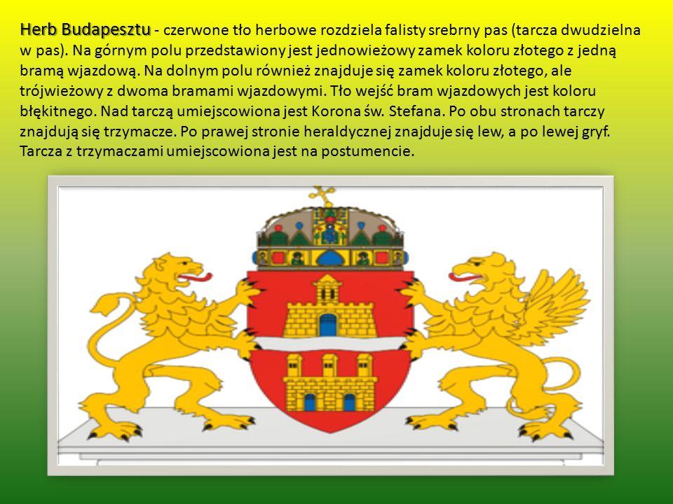Herb Budapesztu Herb Budapesztu - czerwone tło herbowe rozdziela falisty srebrny pas (tarcza dwudzielna w pas). Na górnym polu przedstawiony jest jedn