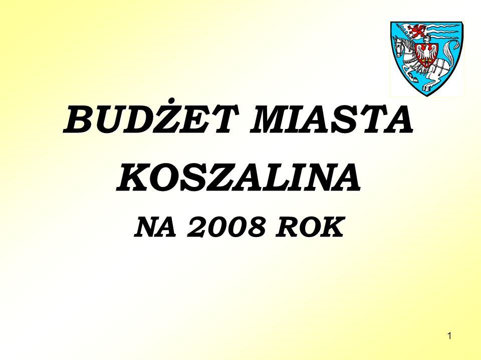 1 BUDŻET MIASTA KOSZALINA NA 2008 ROK