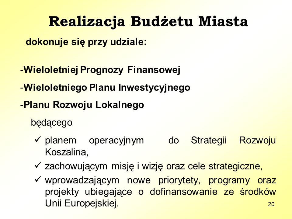 20 planem operacyjnym do Strategii Rozwoju Koszalina, zachowującym misję i wizję oraz cele strategiczne, wprowadzającym nowe priorytety, programy oraz projekty ubiegające o dofinansowanie ze środków Unii Europejskiej.
