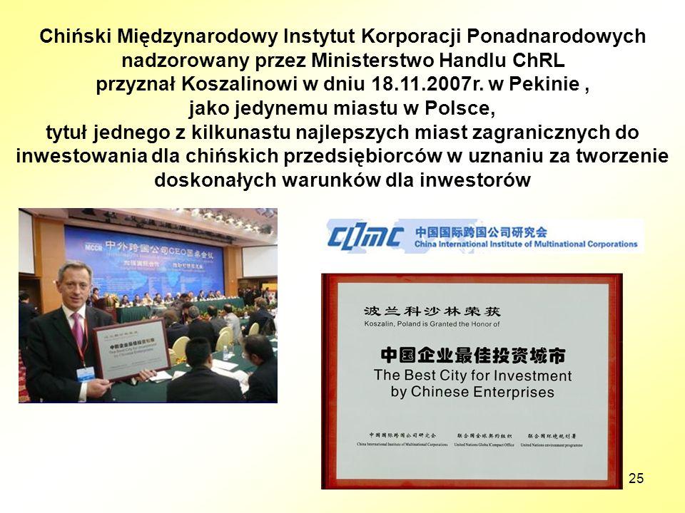 25 Chiński Międzynarodowy Instytut Korporacji Ponadnarodowych nadzorowany przez Ministerstwo Handlu ChRL przyznał Koszalinowi w dniu 18.11.2007r. w Pe