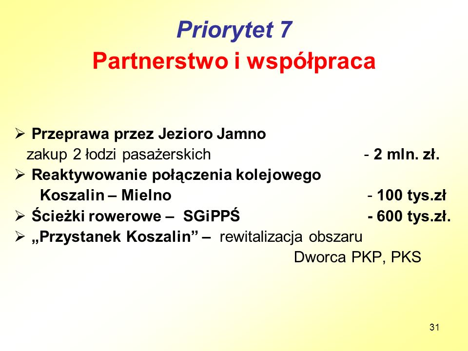 31 Priorytet 7 Partnerstwo i współpraca  Przeprawa przez Jezioro Jamno zakup 2 łodzi pasażerskich - 2 mln. zł.  Reaktywowanie połączenia kolejowego