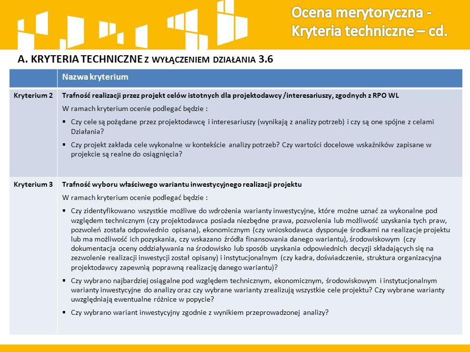 A. KRYTERIA TECHNICZNE Z WYŁĄCZENIEM DZIAŁANIA 3.6 Nazwa kryterium Kryterium 2Trafność realizacji przez projekt celów istotnych dla projektodawcy /int