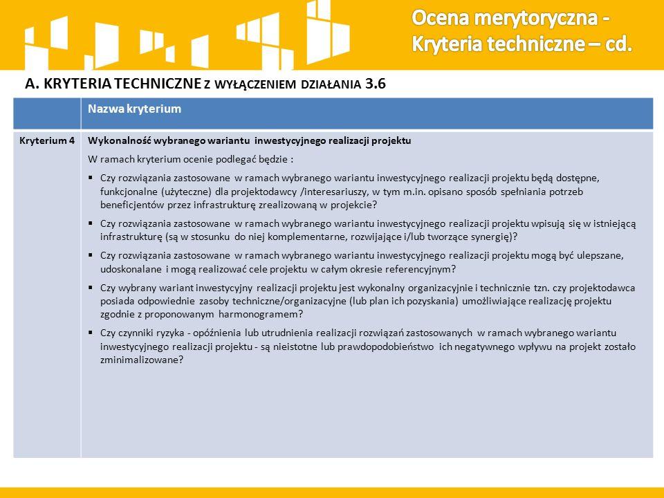 A. KRYTERIA TECHNICZNE Z WYŁĄCZENIEM DZIAŁANIA 3.6 Nazwa kryterium Kryterium 4Wykonalność wybranego wariantu inwestycyjnego realizacji projektu W rama