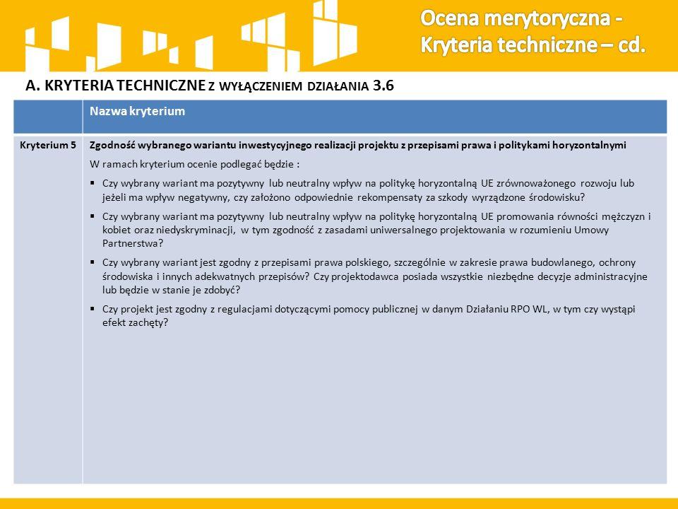 A. KRYTERIA TECHNICZNE Z WYŁĄCZENIEM DZIAŁANIA 3.6 Nazwa kryterium Kryterium 5Zgodność wybranego wariantu inwestycyjnego realizacji projektu z przepis