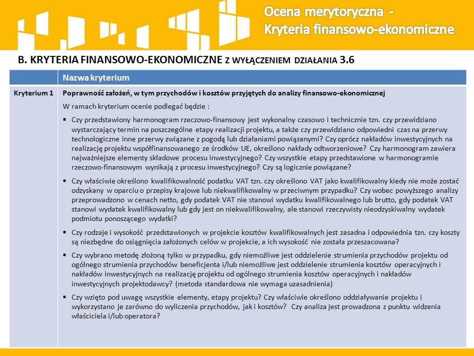B. KRYTERIA FINANSOWO-EKONOMICZNE Z WYŁĄCZENIEM DZIAŁANIA 3.6 Nazwa kryterium Kryterium 1Poprawność założeń, w tym przychodów i kosztów przyjętych do