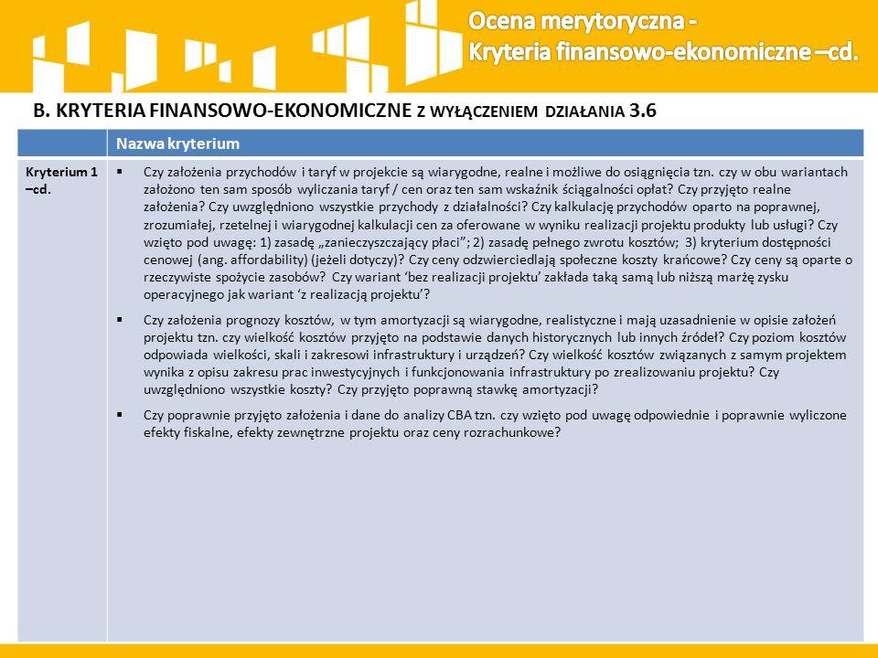 B. KRYTERIA FINANSOWO-EKONOMICZNE Z WYŁĄCZENIEM DZIAŁANIA 3.6 Nazwa kryterium Kryterium 1 –cd.  Czy założenia przychodów i taryf w projekcie są wiary