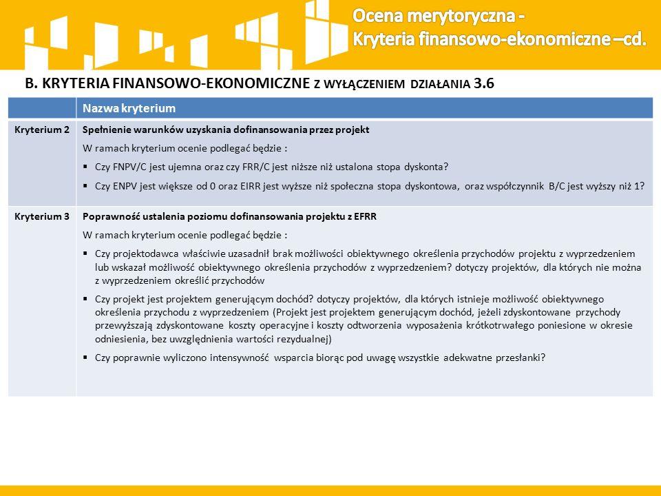 B. KRYTERIA FINANSOWO-EKONOMICZNE Z WYŁĄCZENIEM DZIAŁANIA 3.6 Nazwa kryterium Kryterium 2Spełnienie warunków uzyskania dofinansowania przez projekt W