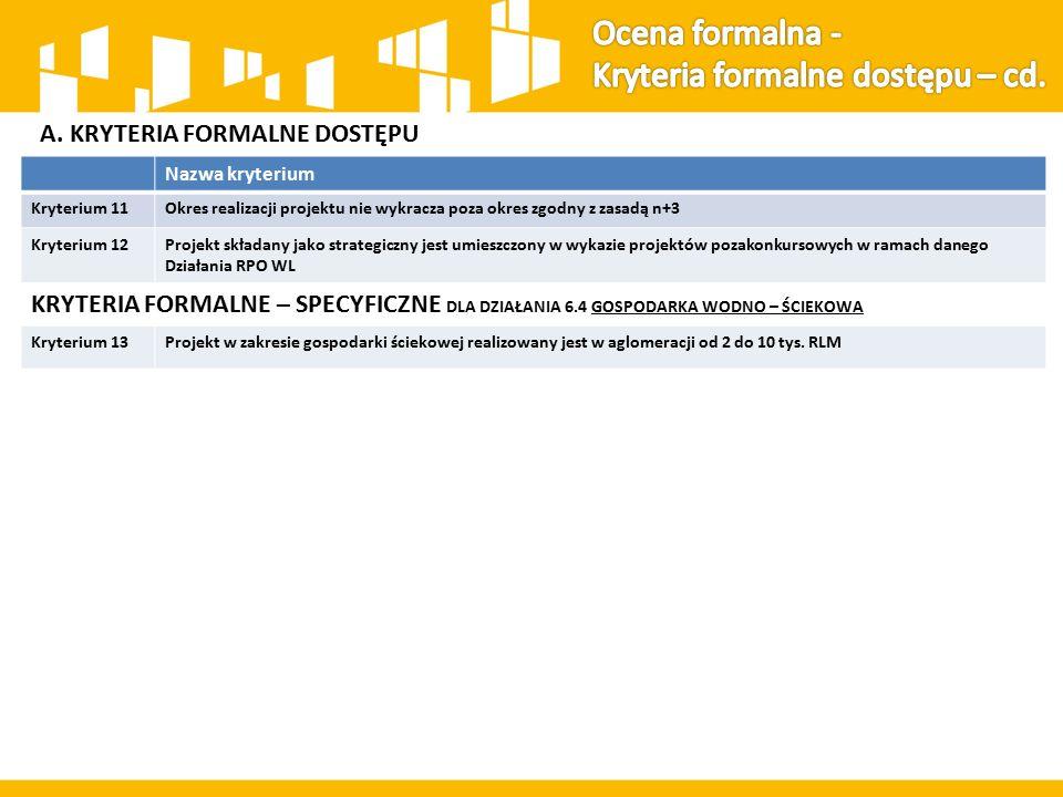 A. KRYTERIA FORMALNE DOSTĘPU Nazwa kryterium Kryterium 11Okres realizacji projektu nie wykracza poza okres zgodny z zasadą n+3 Kryterium 12Projekt skł