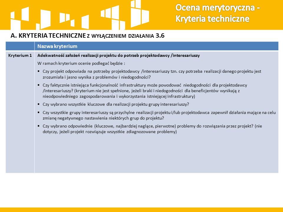 A. KRYTERIA TECHNICZNE Z WYŁĄCZENIEM DZIAŁANIA 3.6 Nazwa kryterium Kryterium 1Adekwatność założeń realizacji projektu do potrzeb projektodawcy /intere