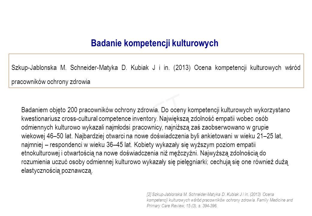 Szkup-Jablonska M. Schneider-Matyka D. Kubiak J i in. (2013) Ocena kompetencji kulturowych wśród pracowników ochrony zdrowia Badaniem objęto 200 praco