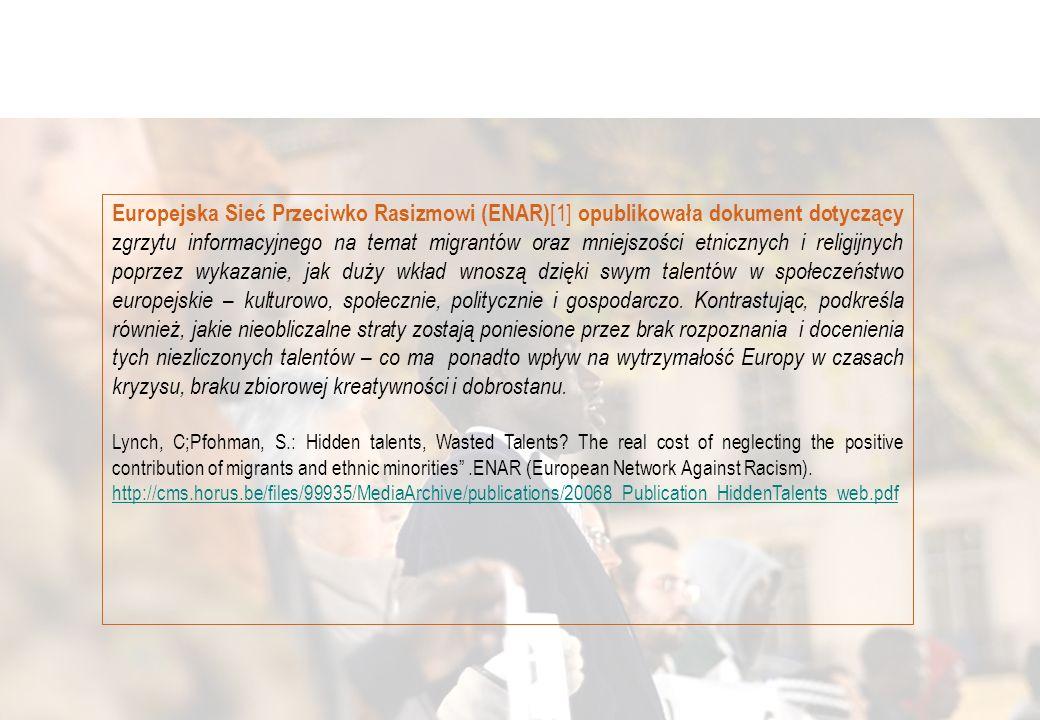 Europejska Sieć Przeciwko Rasizmowi (ENAR) [1] opublikowała dokument dotyczący z grzytu informacyjnego na temat migrantów oraz mniejszości etnicznych i religijnych poprzez wykazanie, jak duży wkład wnoszą dzięki swym talentów w społeczeństwo europejskie – kulturowo, społecznie, politycznie i gospodarczo.
