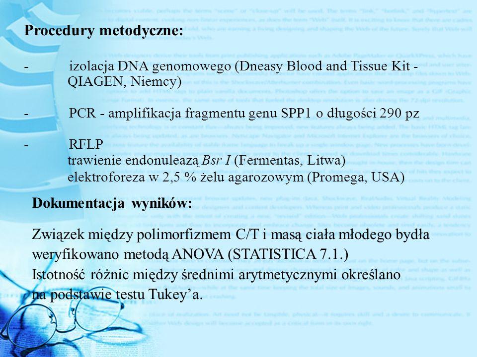 Procedury metodyczne: - izolacja DNA genomowego (Dneasy Blood and Tissue Kit - QIAGEN, Niemcy) - PCR - amplifikacja fragmentu genu SPP1 o długości 290 pz - RFLP trawienie endonuleazą Bsr I (Fermentas, Litwa) elektroforeza w 2,5 % żelu agarozowym (Promega, USA) Dokumentacja wyników: Związek między polimorfizmem C/T i masą ciała młodego bydła weryfikowano metodą ANOVA (STATISTICA 7.1.) Istotność różnic między średnimi arytmetycznymi określano na podstawie testu Tukey'a.