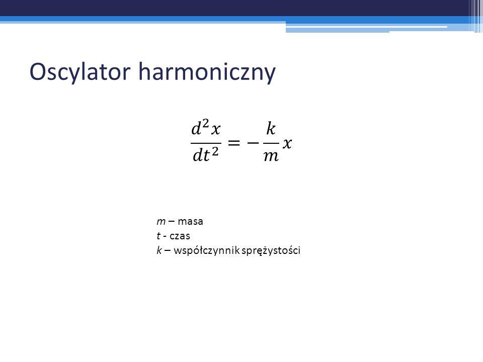 Oscylator harmoniczny m – masa t - czas k – współczynnik sprężystości