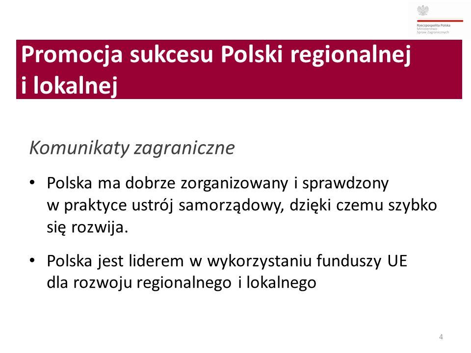 4 Komunikaty zagraniczne Polska ma dobrze zorganizowany i sprawdzony w praktyce ustrój samorządowy, dzięki czemu szybko się rozwija. Polska jest lider