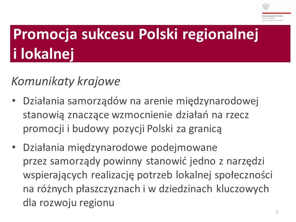 5 Komunikaty krajowe Działania samorządów na arenie międzynarodowej stanowią znaczące wzmocnienie działań na rzecz promocji i budowy pozycji Polski za