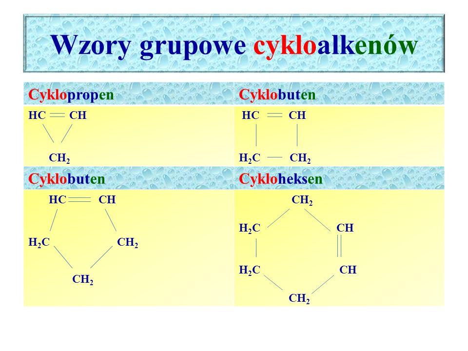 Wzory grupowe cykloalkenów CyklopropenCyklobuten HC CH CH 2 HC CH H 2 C CH 2 CyklobutenCykloheksen HC CH H 2 C CH 2 CH 2 H 2 C CH CH 2