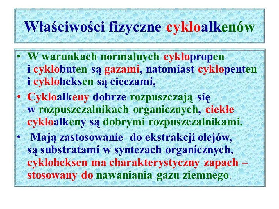 Właściwości chemiczne cykloalkenów Reakcja addycji – przyłączenia halogenów – fluoru, chloru, bromu, halogenowodoru CH 2 CH 2 Br H 2 C CH H 2 C 1 CH + Br 2  H 2 C CH H 2 C 2 CH CH 2 CH 2 Br cykloheksen 1,2-dibromocykloheksan