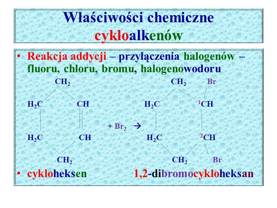 Właściwości chemiczne cykloalkenów Reakcja addycji – przyłączenia halogenów – fluoru, chloru, bromu, halogenowodoru CH 2 CH 2 Br H 2 C CH H 2 C 1 CH +