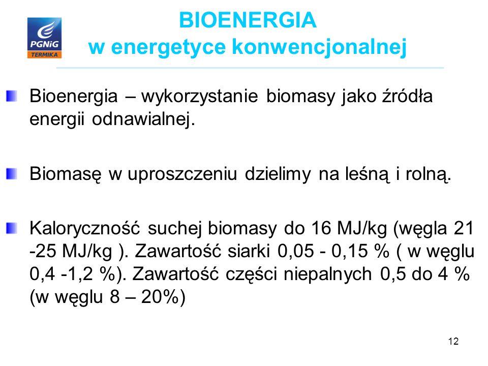 12 BIOENERGIA w energetyce konwencjonalnej Bioenergia – wykorzystanie biomasy jako źródła energii odnawialnej.