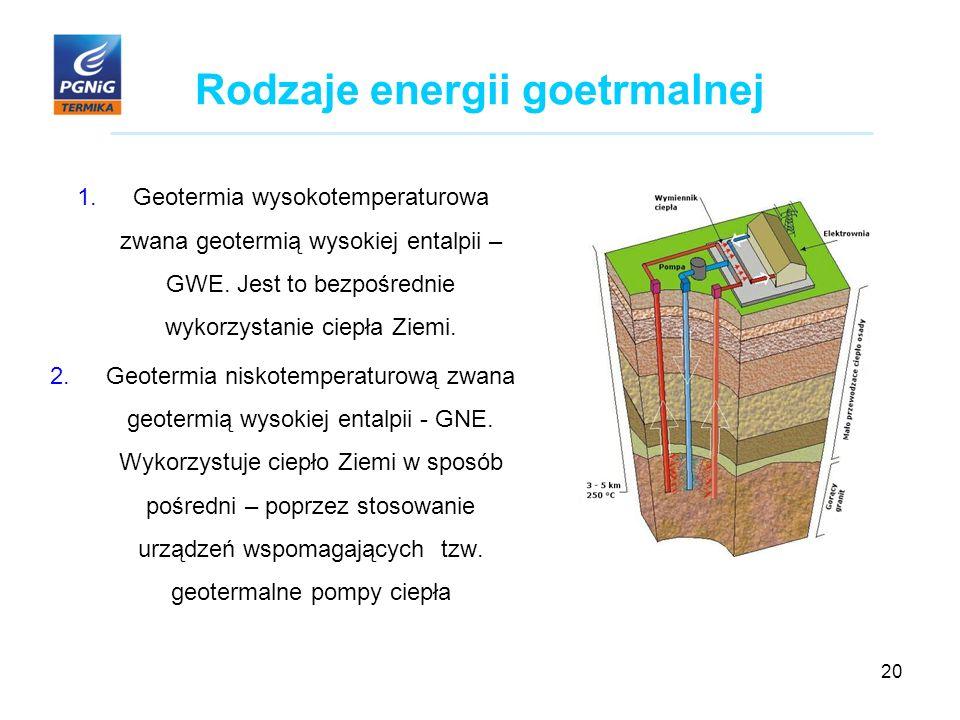20 Rodzaje energii goetrmalnej 1.Geotermia wysokotemperaturowa zwana geotermią wysokiej entalpii – GWE.