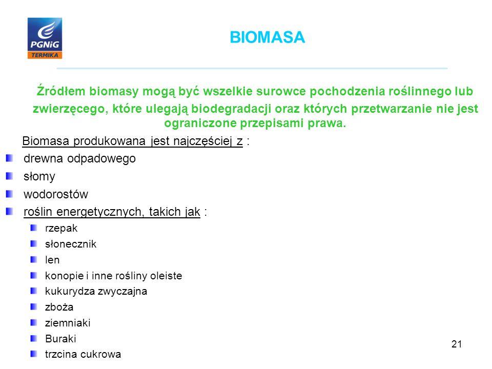 21 BIOMASA Źródłem biomasy mogą być wszelkie surowce pochodzenia roślinnego lub zwierzęcego, które ulegają biodegradacji oraz których przetwarzanie nie jest ograniczone przepisami prawa.