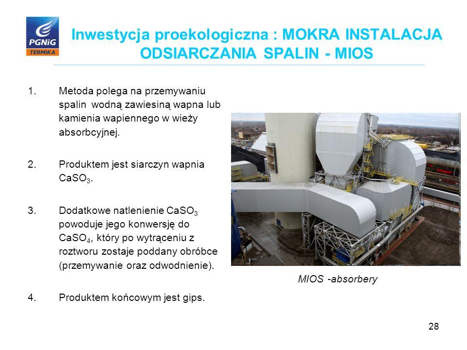 28 Inwestycja proekologiczna : MOKRA INSTALACJA ODSIARCZANIA SPALIN - MIOS 1.Metoda polega na przemywaniu spalin wodną zawiesiną wapna lub kamienia wapiennego w wieży absorbcyjnej.