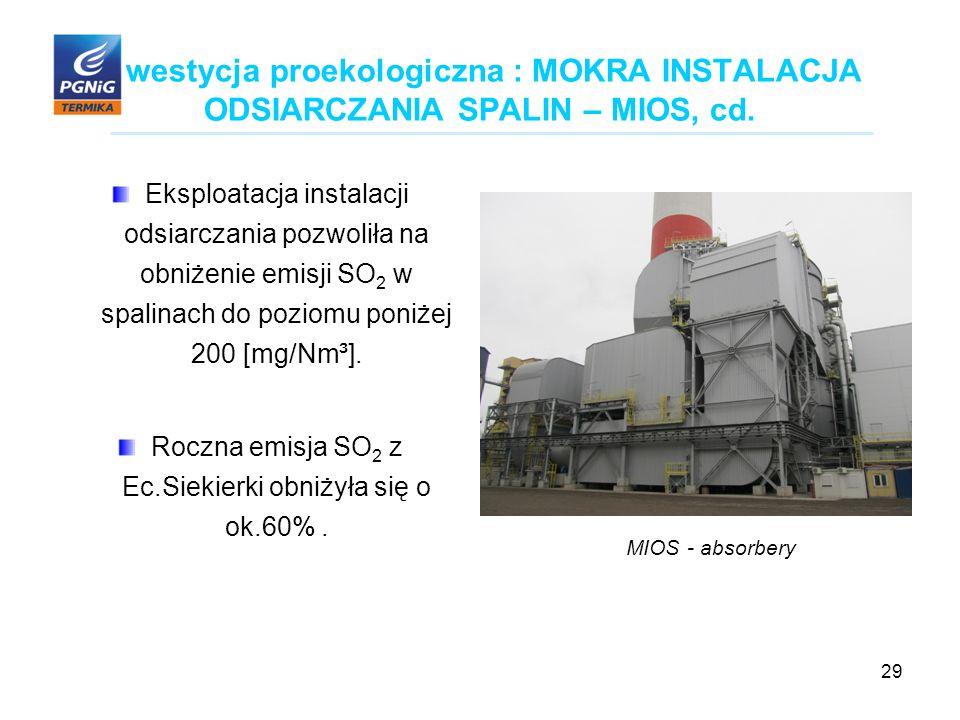 29 Inwestycja proekologiczna : MOKRA INSTALACJA ODSIARCZANIA SPALIN – MIOS, cd.