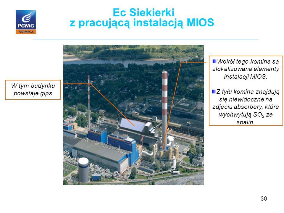 30 Ec Siekierki z pracującą instalacją MIOS W tym budynku powstaje gips Wokół tego komina są zlokalizowane elementy instalacji MIOS.
