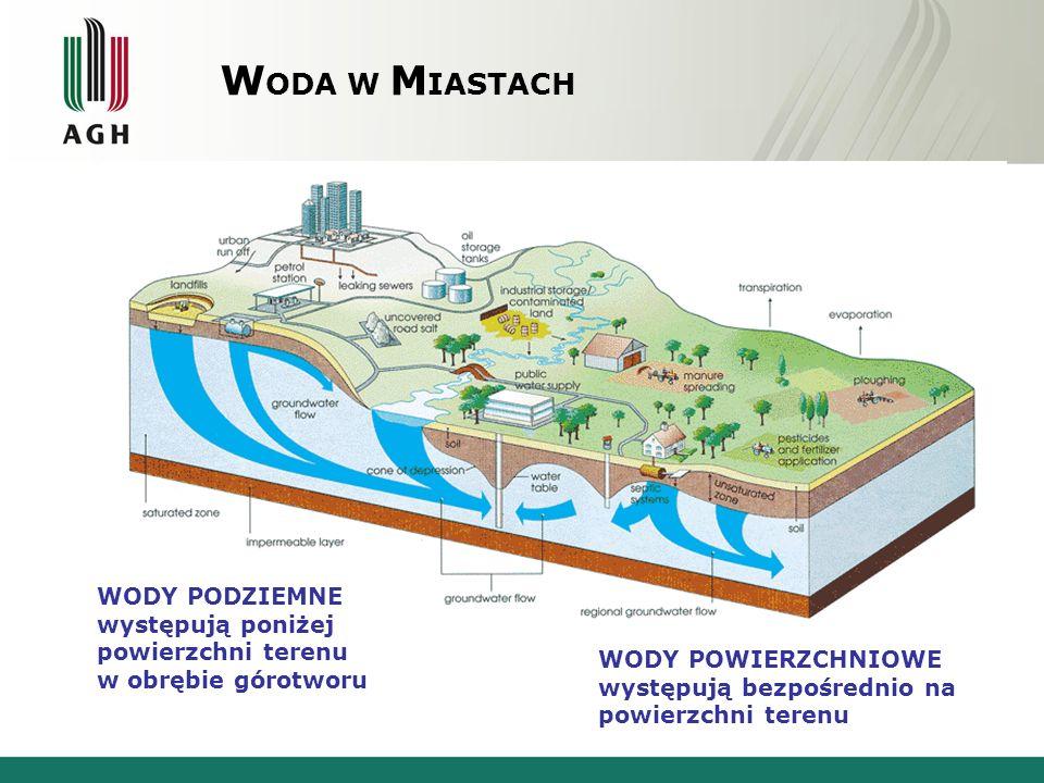 W ODA W M IASTACH WODY PODZIEMNE występują poniżej powierzchni terenu w obrębie górotworu WODY POWIERZCHNIOWE występują bezpośrednio na powierzchni te