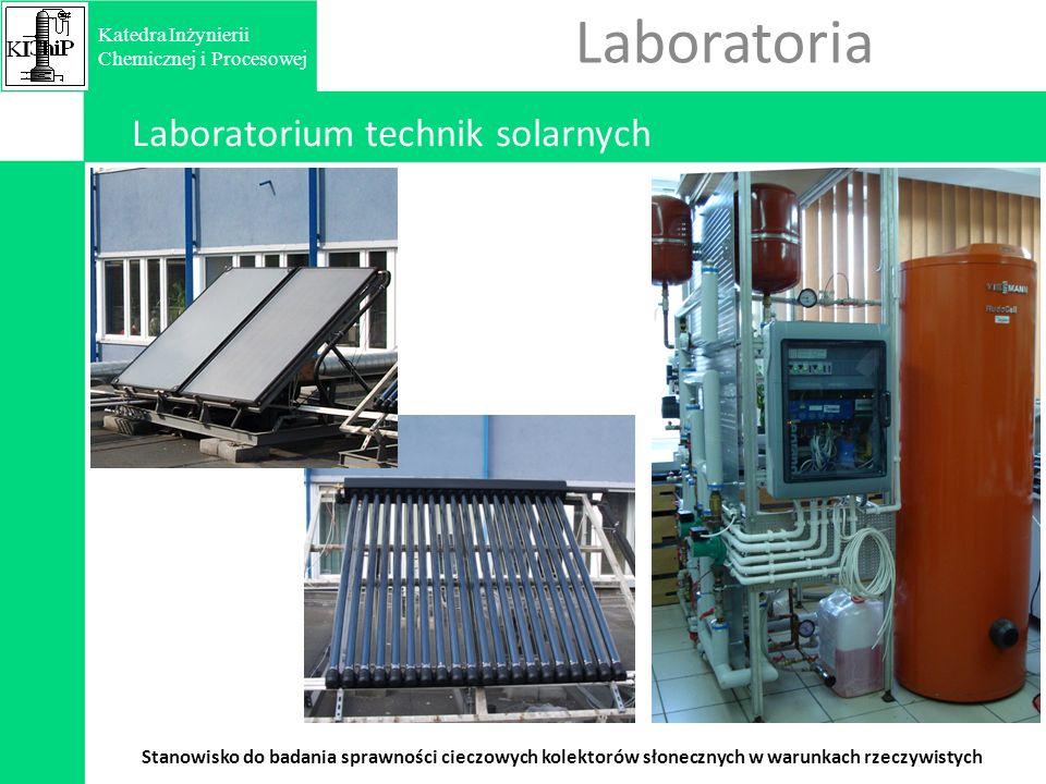 Laboratoria Laboratorium technik solarnych Stanowisko do badania sprawności cieczowych kolektorów słonecznych w warunkach rzeczywistych KIKI Katedra Inżynierii Chemicznej i Procesowej