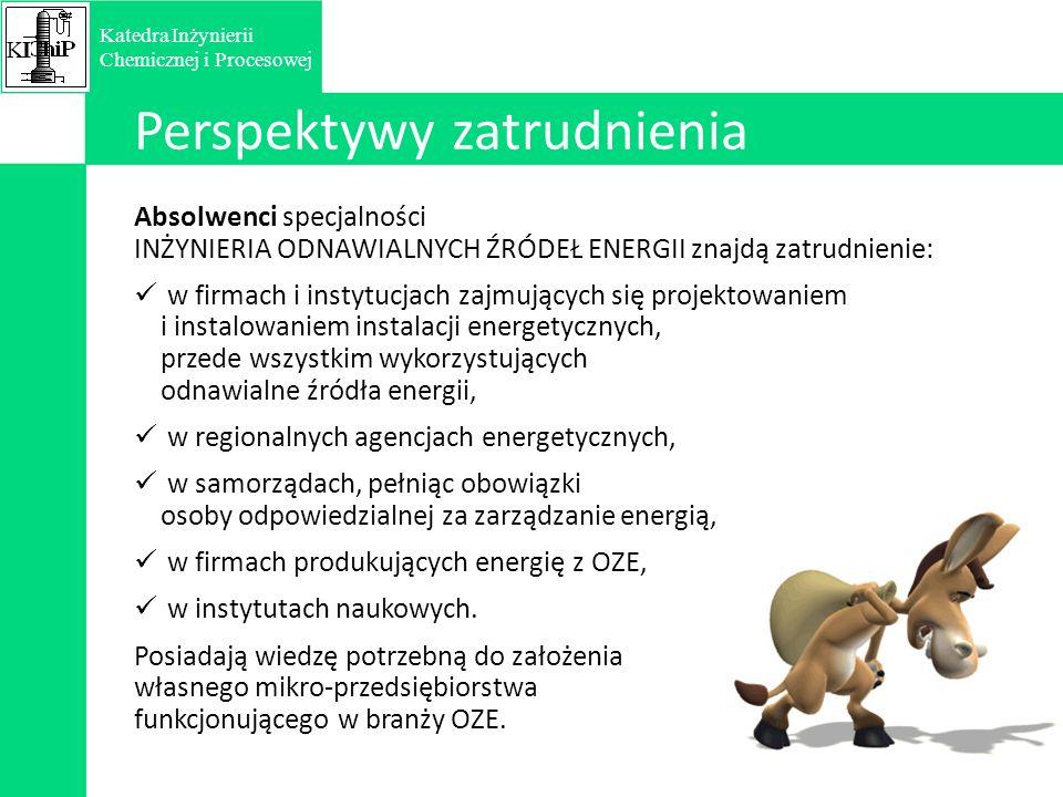 Absolwenci specjalności INŻYNIERIA ODNAWIALNYCH ŹRÓDEŁ ENERGII znajdą zatrudnienie: w firmach i instytucjach zajmujących się projektowaniem i instalowaniem instalacji energetycznych, przede wszystkim wykorzystujących odnawialne źródła energii, w regionalnych agencjach energetycznych, w samorządach, pełniąc obowiązki osoby odpowiedzialnej za zarządzanie energią, w firmach produkujących energię z OZE, w instytutach naukowych.