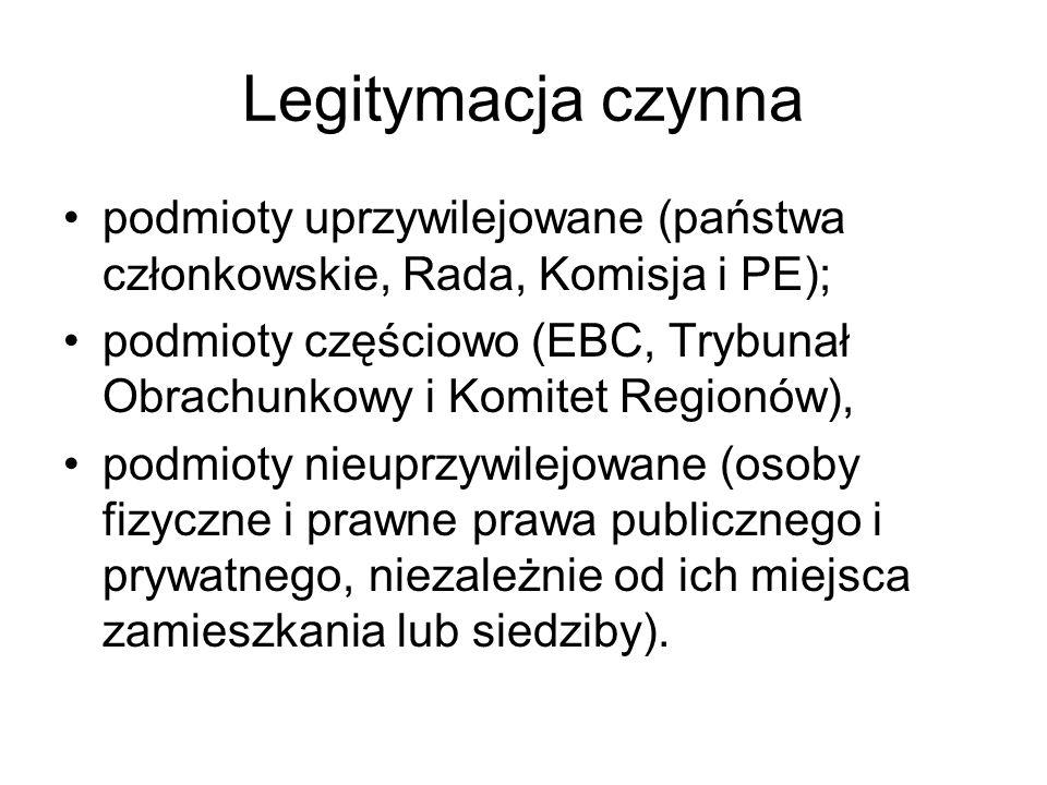 Legitymacja czynna podmioty uprzywilejowane (państwa członkowskie, Rada, Komisja i PE); podmioty częściowo (EBC, Trybunał Obrachunkowy i Komitet Regionów), podmioty nieuprzywilejowane (osoby fizyczne i prawne prawa publicznego i prywatnego, niezależnie od ich miejsca zamieszkania lub siedziby).