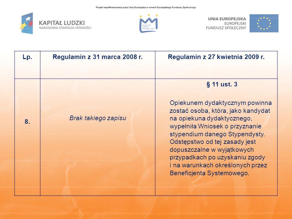 Lp.Regulamin z 31 marca 2008 r.Regulamin z 27 kwietnia 2009 r. 8. Brak takiego zapisu § 11 ust. 3 Opiekunem dydaktycznym powinna zostać osoba, która,