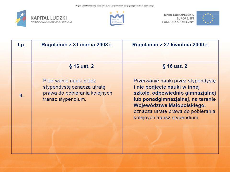 Lp.Regulamin z 31 marca 2008 r.Regulamin z 27 kwietnia 2009 r. 9. § 16 ust. 2 Przerwanie nauki przez stypendystę oznacza utratę prawa do pobierania ko