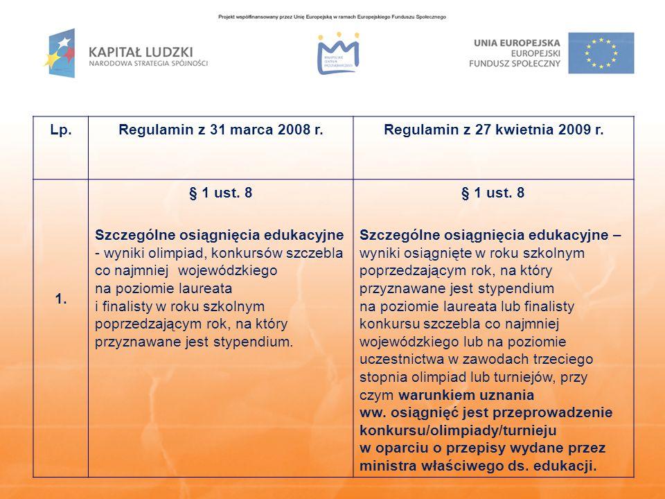 Lp.Regulamin z 31 marca 2008 r.Regulamin z 27 kwietnia 2009 r. 1. § 1 ust. 8 Szczególne osiągnięcia edukacyjne - wyniki olimpiad, konkursów szczebla c