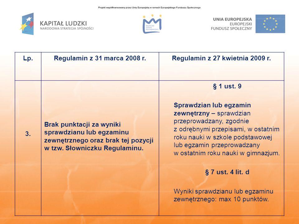 Lp.Regulamin z 31 marca 2008 r.Regulamin z 27 kwietnia 2009 r. 3. Brak punktacji za wyniki sprawdzianu lub egzaminu zewnętrznego oraz brak tej pozycji