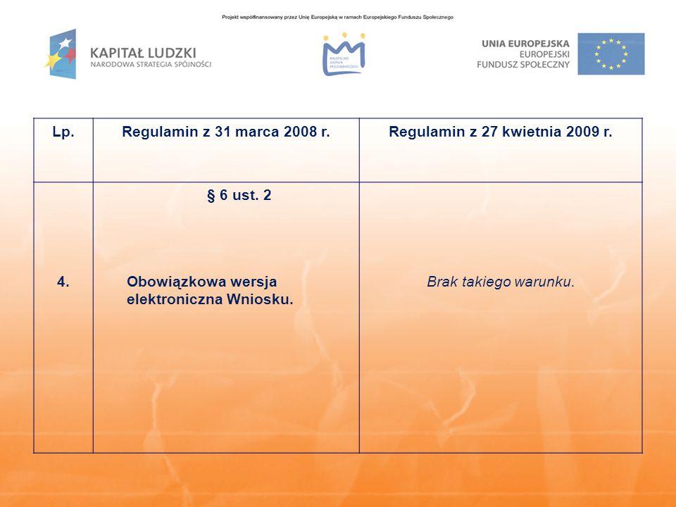 Lp.Regulamin z 31 marca 2008 r.Regulamin z 27 kwietnia 2009 r. 4. § 6 ust. 2 Obowiązkowa wersja elektroniczna Wniosku. Brak takiego warunku.