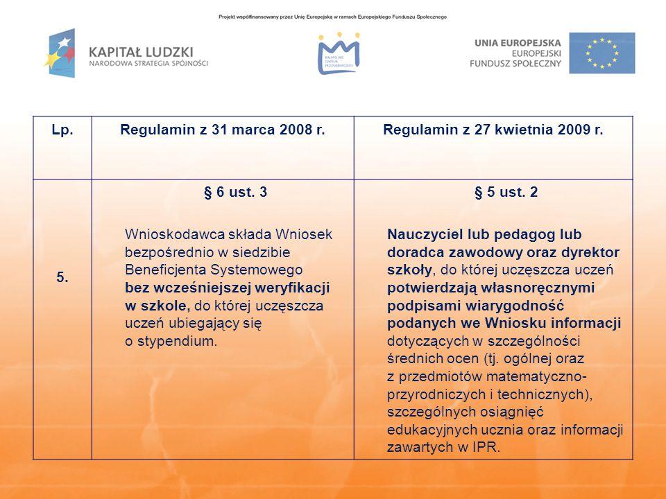 Lp.Regulamin z 31 marca 2008 r.Regulamin z 27 kwietnia 2009 r. 5. § 6 ust. 3 Wnioskodawca składa Wniosek bezpośrednio w siedzibie Beneficjenta Systemo