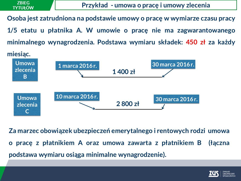 Osoba jest zatrudniona na podstawie umowy o pracę w wymiarze czasu pracy 1/5 etatu u płatnika A.