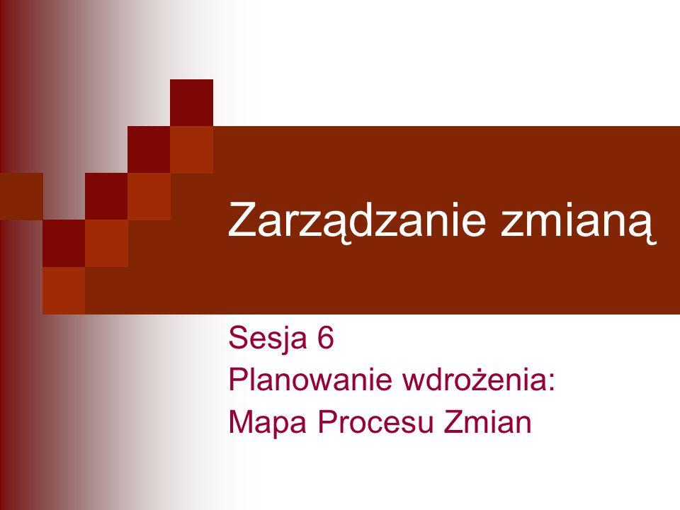 Zarządzanie zmianą Sesja 6 Planowanie wdrożenia: Mapa Procesu Zmian